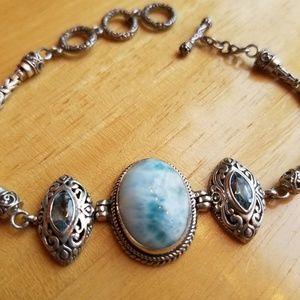 Handmade Larimar & Blue Topaz w/ Silver Byzantine